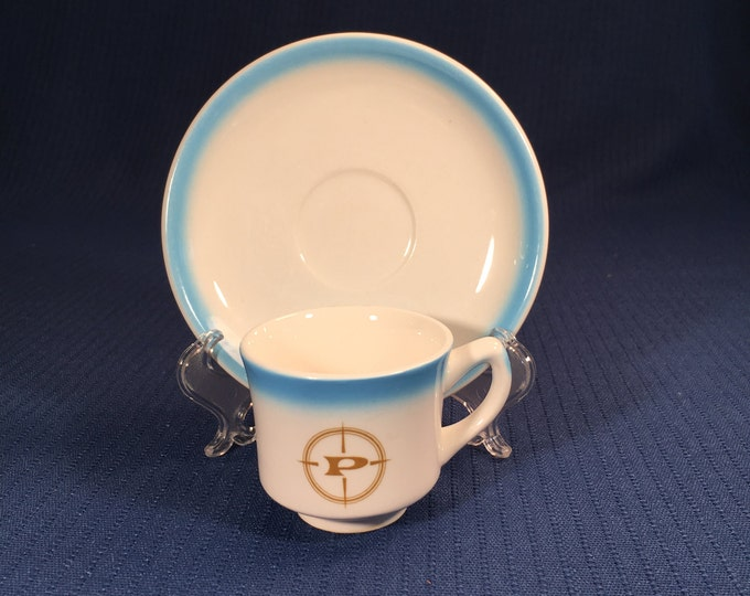 Prudential Lines Small Demitasse Espresso Shot Cup and Saucer Steamship Restaurant Ware by Jackson China 1951-1976