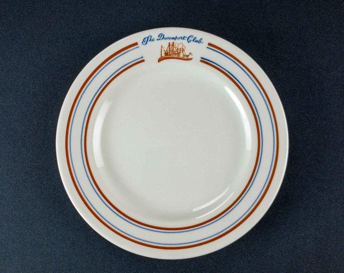 Vintage 1960s Walker China Davenport Club Blackhawk Hotel Iowa Restaurant Ware Side Plate Steamboat Riverboat Paddle Wheeler