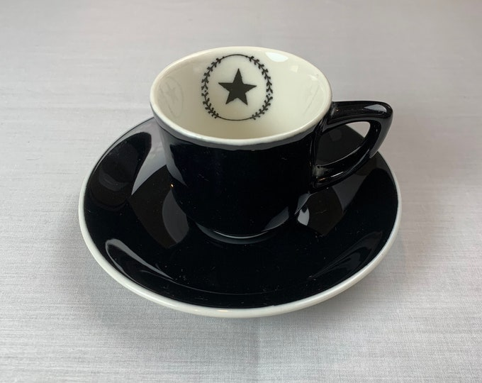 Uncommon Vintage 1940s Silhouette Pattern Demitasse Cup & Saucer Syracuse China