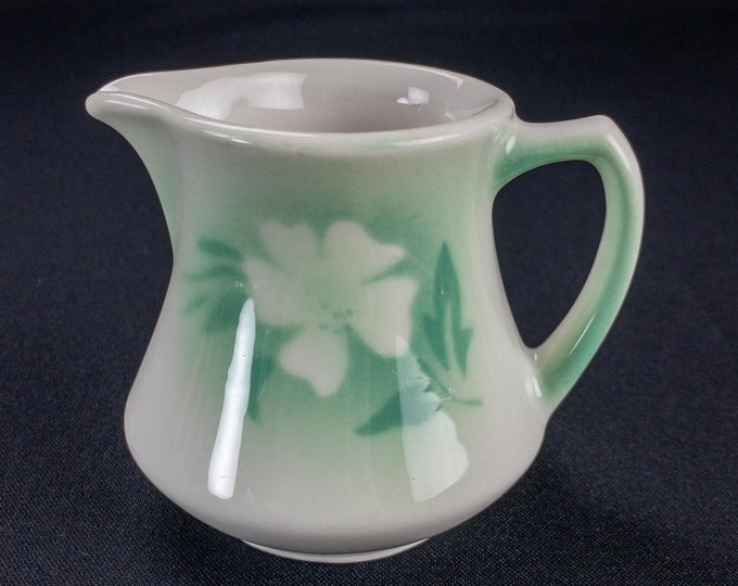 1950s Syracuse China Restaurant Ware Creamer Green Stencil Airbrushed Millbrook Pattern