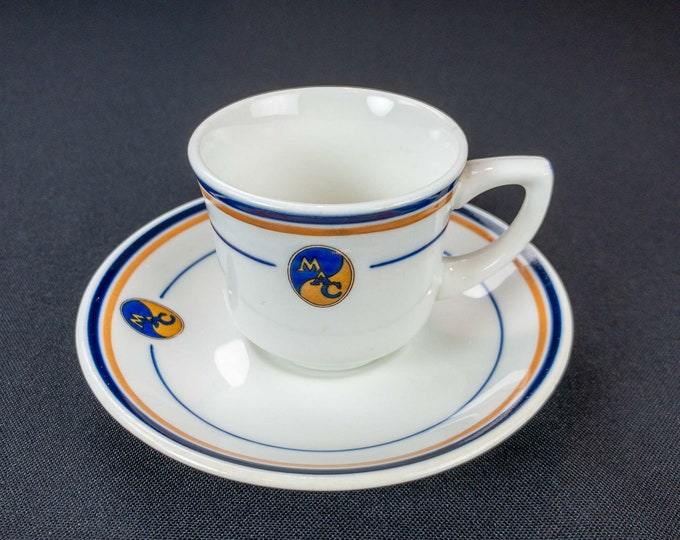 Vintage 1926 Midwest Athletic Club MAC Chicago Illinois Restaurant Ware Demitasse Cup & Saucer By OPCo Syracuse China