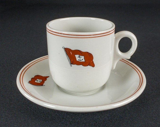 1960s William Thomson & Co Shipping Line / Ben Line Steamers Cup and Saucer By Dunn Bennett