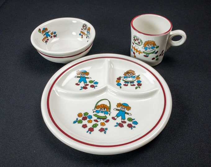 1970s Jackson China Children Dining Three Piece Set - Cup, Baby Grill Plate & Bowl