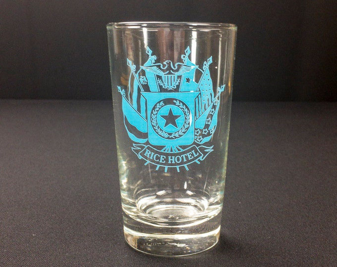 Rare Rice Hotel Houston Texas Restaurant Ware Turquoise Blue Crested Glass Drink Glass by Libbey Circa 1970s