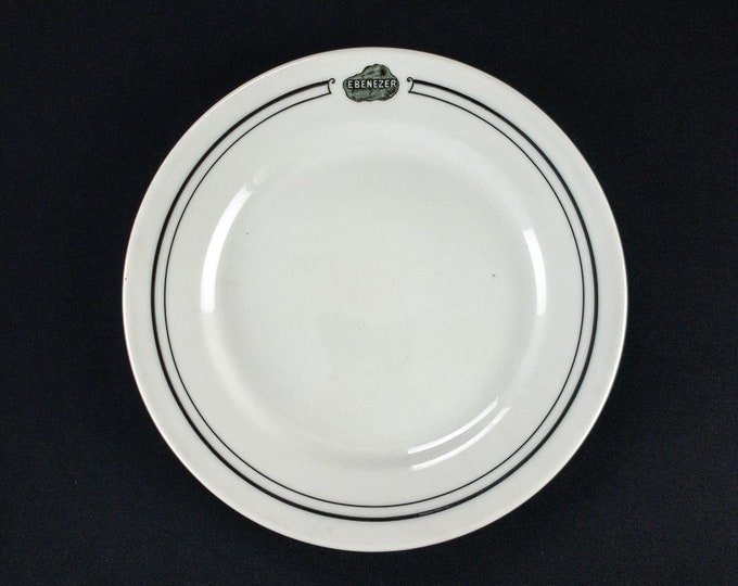 Vintage 1930s to early 1940s Mayer China Ebenezer Restaurant Ware Plate Black White Lump Coal Church