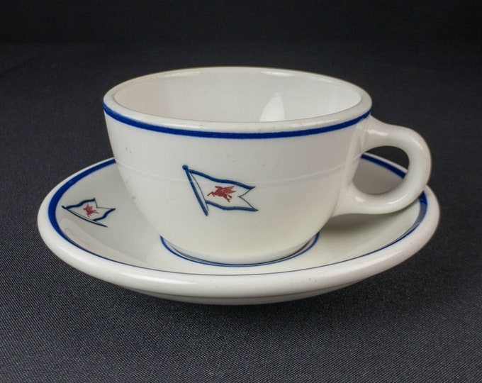 Socony Mobil Oil Restaurant Ware Maritime Ship Tanker China Coffee Cup And Saucer By Shenango China