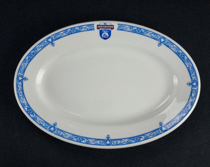 """1930s The Greyhound Bus Lines 12"""" Restaurant Ware Platter by Shenango China"""