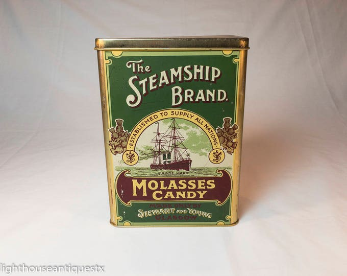 The Steamship Brand Molasses Candies Tin Made in England
