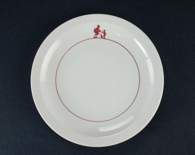 "Howard Johnson's Restaurant Ware 8 3/4"" Plate Maroon Pieman Pattern by Homer Laughlin"
