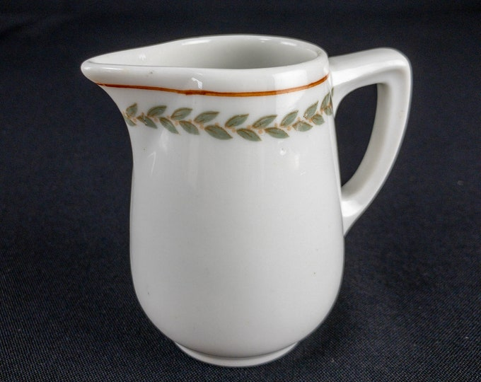 Green Laurel and Orange Berries Banded Creamer Restaurant Ware Lamberton China By Scammell