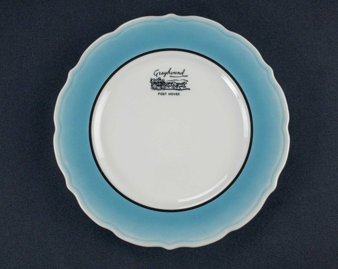 Vintage 1960 Greyhound Bus Lines Post House Restaurant Ware 9 Inch Dinner Plate Syracuse China