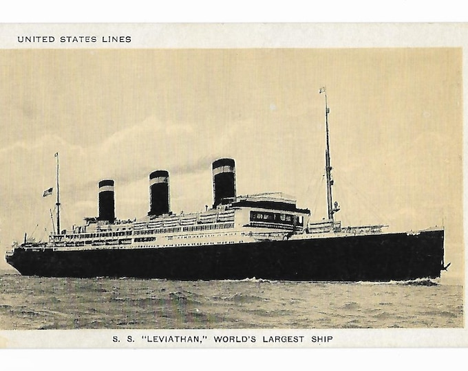 SS Leviathan United States Lines United States Shipping Board Steamshp Postcard Unposted 1930s