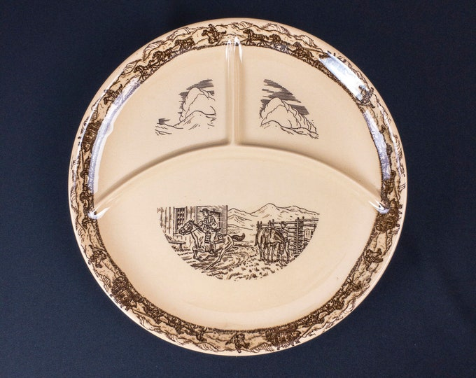 Western Traveler Pony Express 13 Inch Chop Grill Divided Three Compartment Plate by TEPCO China California Circa 1950s-60s
