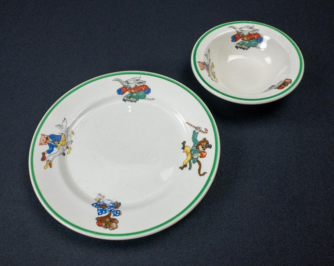 1943 Warwick China Children Dining Two Piece Set Plate & Bowl