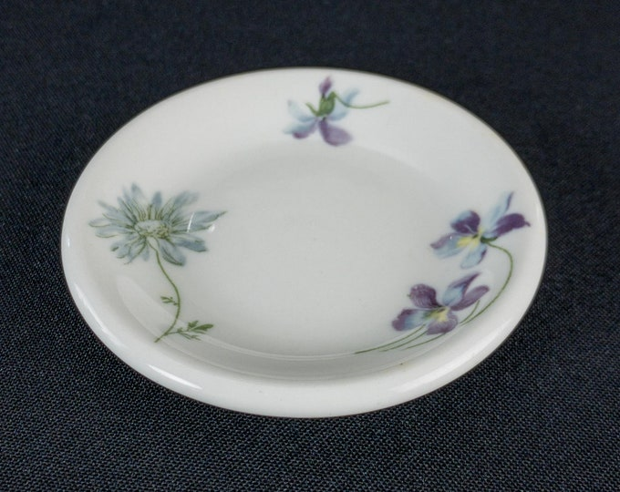 "1930s-1948 Violets and Daisies Pattern Restaurant Ware 3 5/8"" Butter Pat By Shenango Famous Color Decal Backstamp"