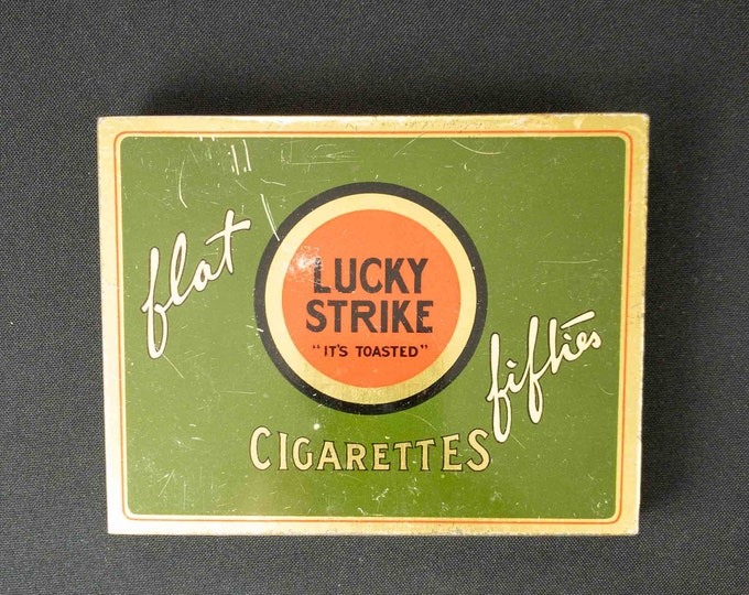 Vintage Lucky Strike Cigarette Tin Flat 50