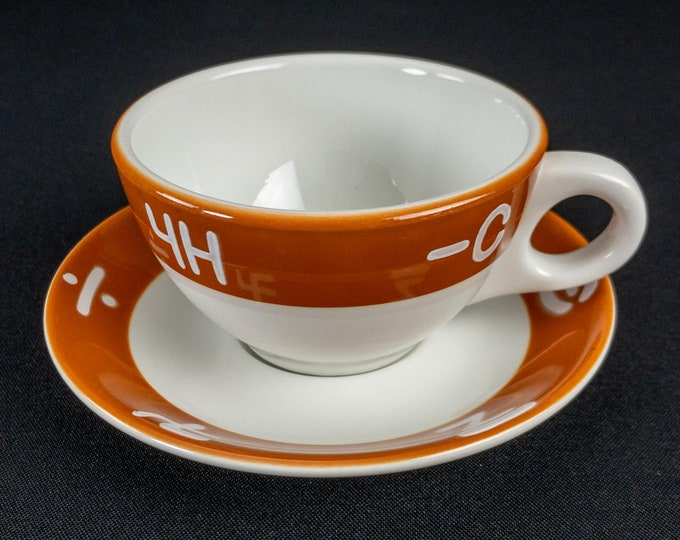 1970s Western Brand Orange White Restaurant Ware Coffee Cup Saucer by Mayer China