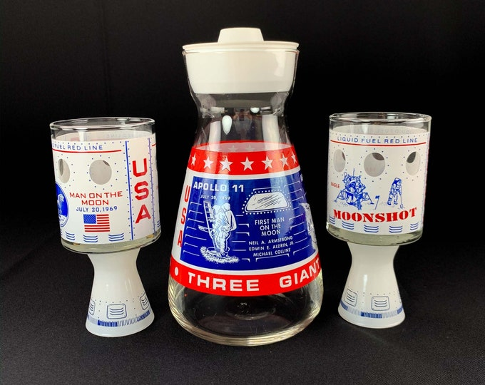 Vintage 1960s to 1970s Moonshot Glasses and Three Giant Leaps Drink Pitcher Space Race Apollo 11 12 13 Bar Set