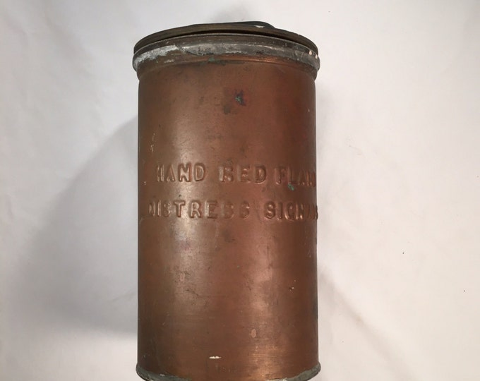 WW II Era 1940s Copper Liferaft Canister For Storage Of Hand Red Flare Distress Signals