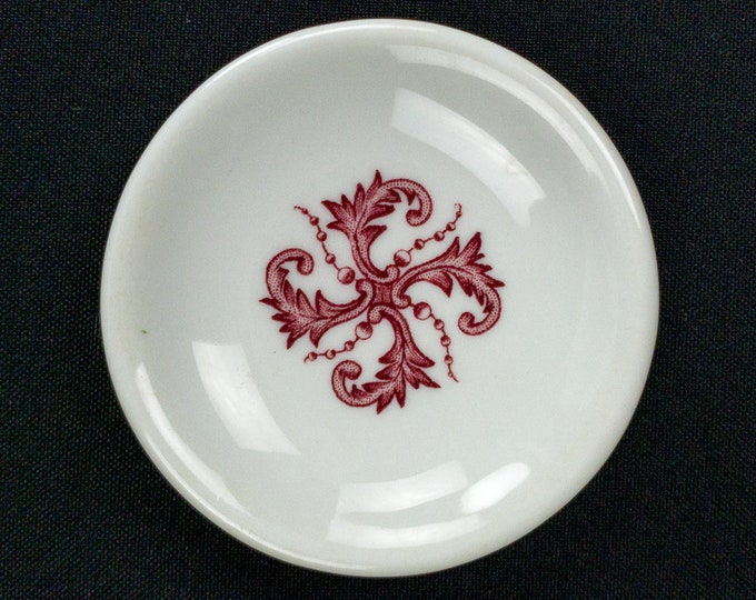 Less Common Restaurant Ware Butter Pat Red Thistle with Berries Design on White Body by Iroquois China Puerto Rico Circa 1948