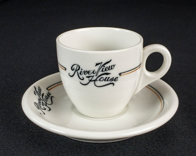 Vintage 1926 River View House Demitasse Cup And Saucer Restaurant Ware By O.P.Co. Syracuse China