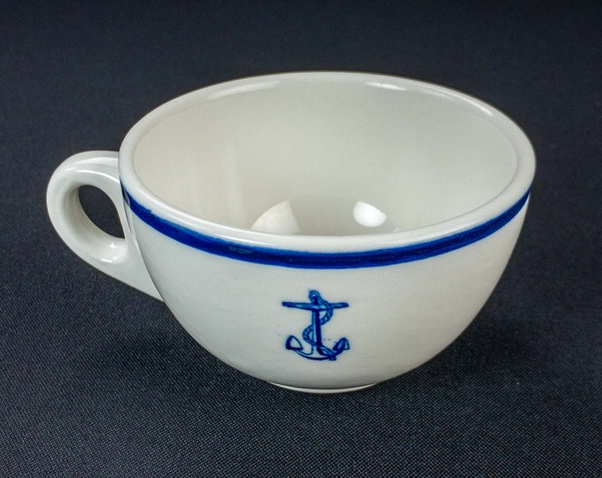 Vintage 1951 USN Navy Korean Ware Era Wardroom Officer Mess Restaurant Ware Coffee Cup By Sterling China Fouled Anchor Cobalt Blue