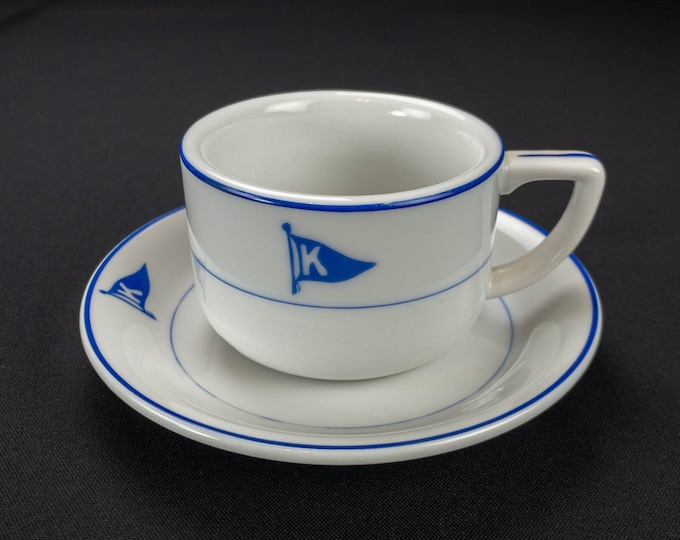 J C Carras and Sons Greek Steamship Shipping Line Nautical Maritime Cup and Saucer Circa 1970s-80s