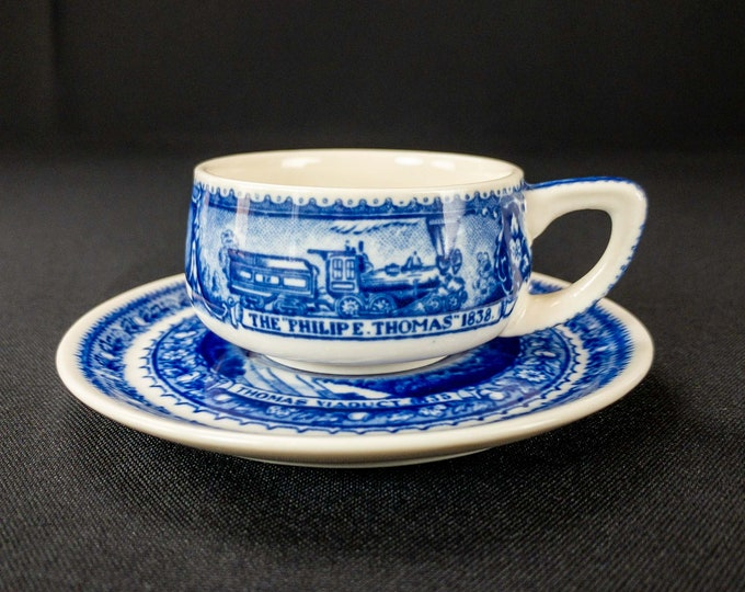 Vintage 1927-1942 Scammell's Lamberton China Baltimore Ohio Railroad Centenary Blue Restaurant Ware Demitasse Cup & Saucer Design Patented