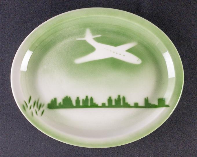 "Stencil Airbrush Green Greater Chicago Rockford Illinois International Airport 11-1/2"" x 9-1/2"" Oval Platter Restaurant Ware Jackson 1960s"