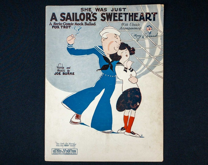 Vintage 1925 Sheet Music She Was Just A Sailor's Sweetheart by Joe Burke
