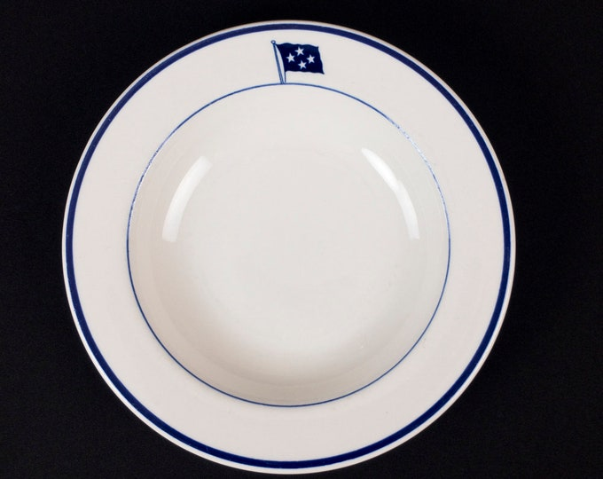 Uncommon Vintage 1920s-early 1950s WWII Era United States Navy 4 Star Admiral Restaurant Ware Wide 9 inch Rim Soup Bowl