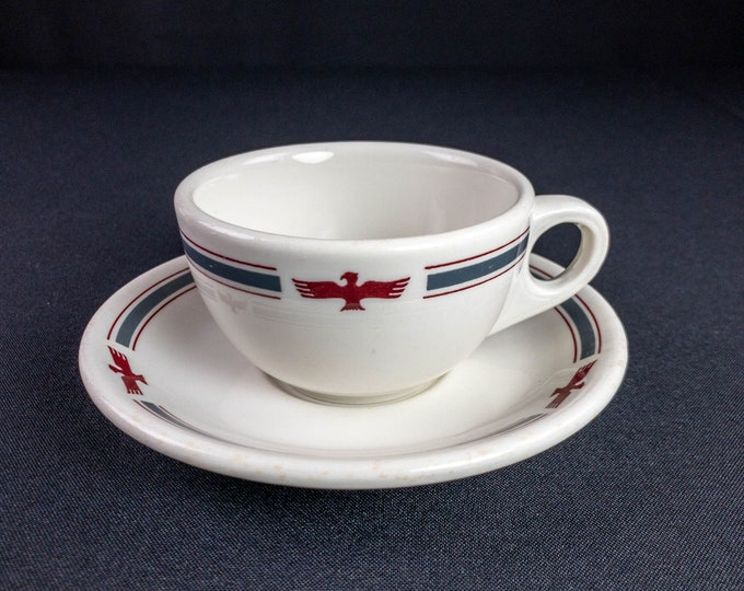 American President Lines Shipping Steamship Line Cup And Saucer Restaurant Ware Sterling And Wellsville China