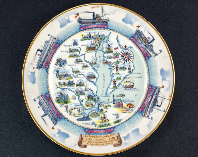Vintage 1940 Old Bay Line Baltimore Steam Packet Company Centennial 10.5 Inch Plate By Lamberton Scammell China