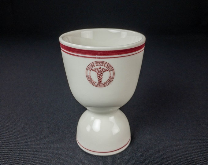 Vintage 1940s WWII Era US Army Medical Maroon Caduceus Department Restaurant Ware Double Egg Cup