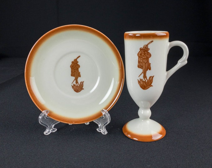 Cafe Brulot Diabolique Devilishly Burnt Coffee Restaurant Ware Footed Cup and Saucer by Sterling China