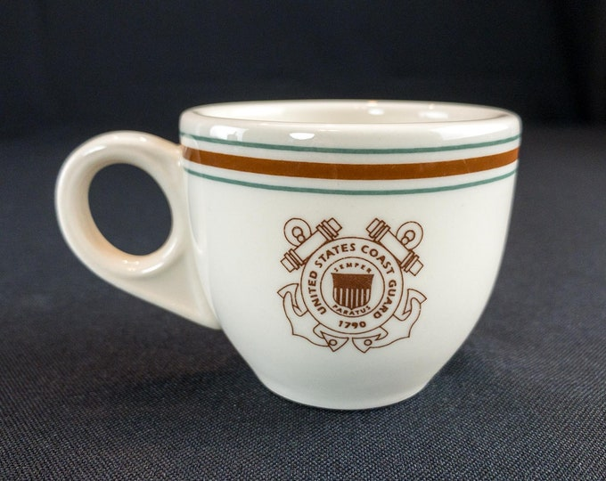1990s United States Coast Guard Guard Demitasse After Dinner Cup Restaurant Ware By Homer Laughlin
