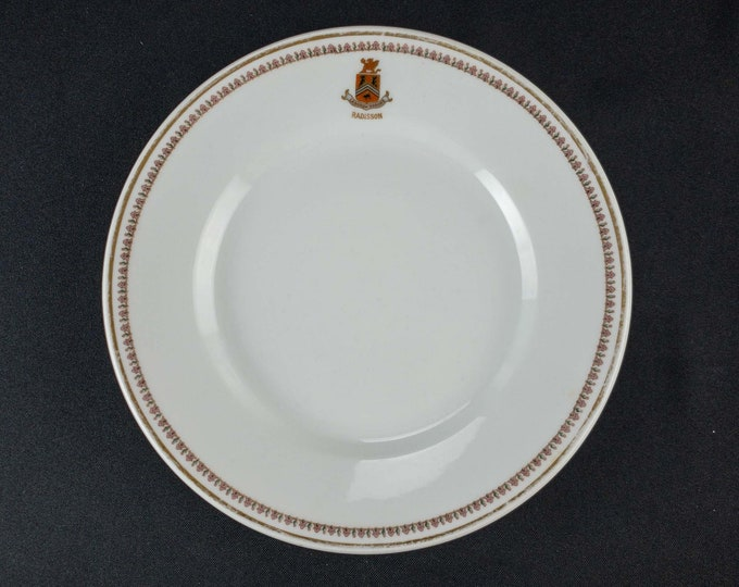 Antique 1914 Radisson Hotel Minneapolis Minnesota 8 1/4 Inch Restaurant Ware Plate Distributed By Burley & Co Chicago Made in Germany