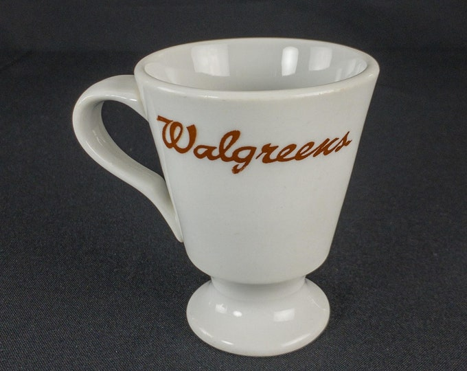 1970s Walgreens Lunch Counter Soda Fountain White & Maroon Footed Cup By Shenango China USA