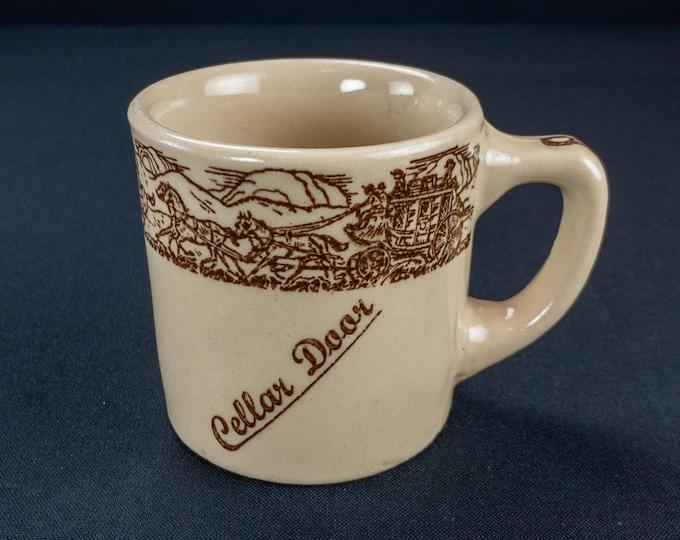 HTF Vintage 1931-1968 Cellar Door Houston Texas Western Cowboy Stagecoach Theme Restaurant Ware Coffee Mug by TEPCO