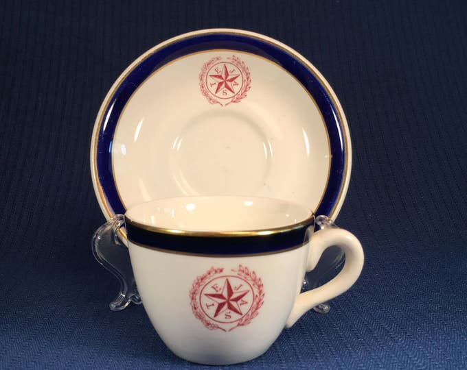 Tejas Star China Cup and Saucer Blue and Gold Trim by Dunn and Bennett Burslem England
