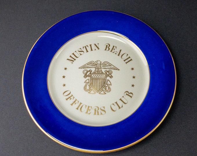 "Mustin Beach Officers Club 10-3/8"" Plate Naval Air Station Pensacola Florida Restaurant Ware By Shenango China"