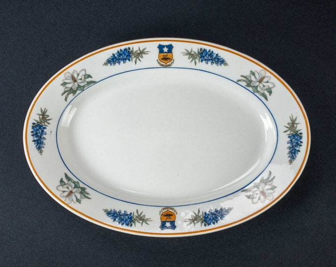 Vintage 1930s Lamar Hotel Houston Texas Restaurant Ware Oval Plate Bowl Lamberton Scammell China