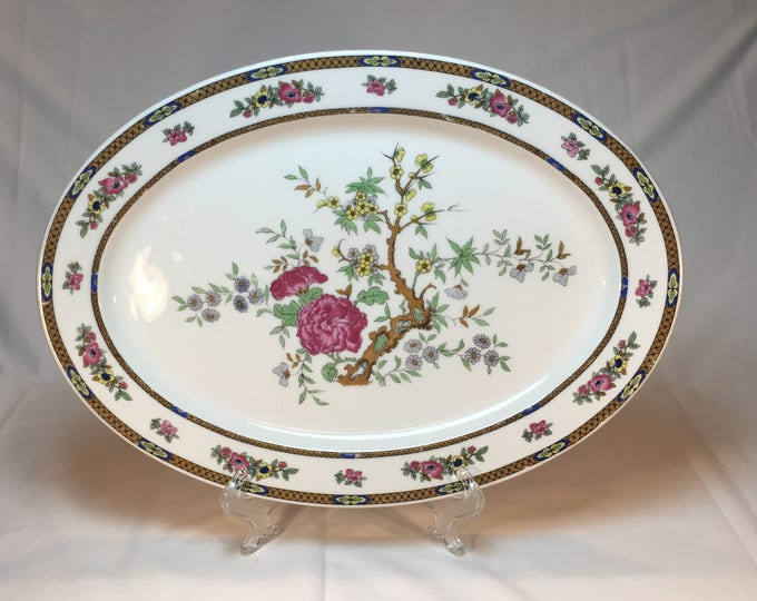 Famous Hotel Ambassador Chicago's Gold Coast Large Oval 16 Inch Serving Platter Indian Tree Pattern by Black Knight Hutschenreuther 1920s