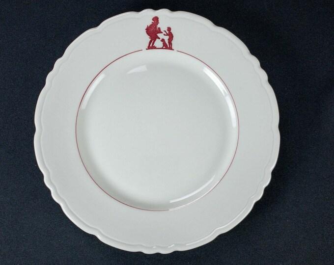 "Vintage 1950s Howard Johnson's HoJos Maroon Pieman Pattern 9 3/4"" Plate Restaurant Ware Plate By Caribe China Puerto Rico"