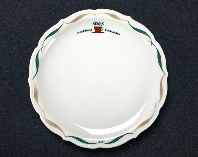 Sears Coffee House Restaurant Ware Plate 9 Inch Diameter By Syracuse China Festival Pattern Teal Tan Ribbon Design Circa 1967
