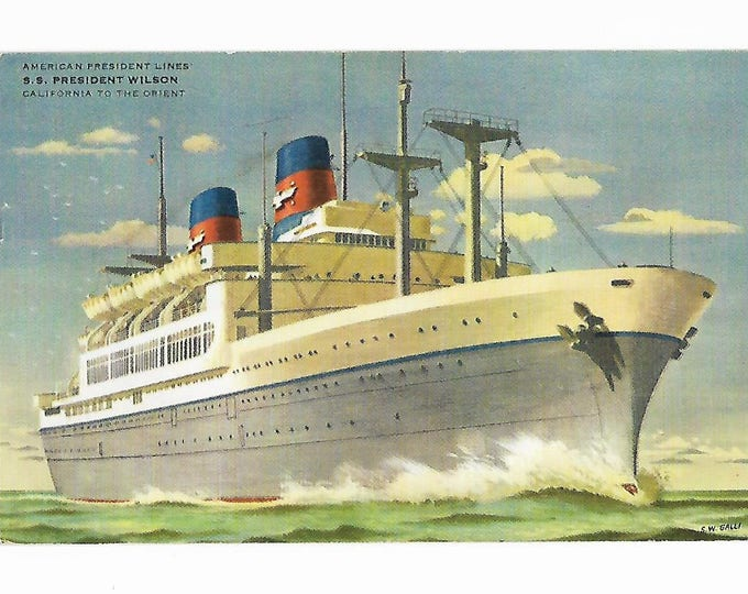 Postcard American President Lines S. S. President Wilson California to the Orient Posted 1958