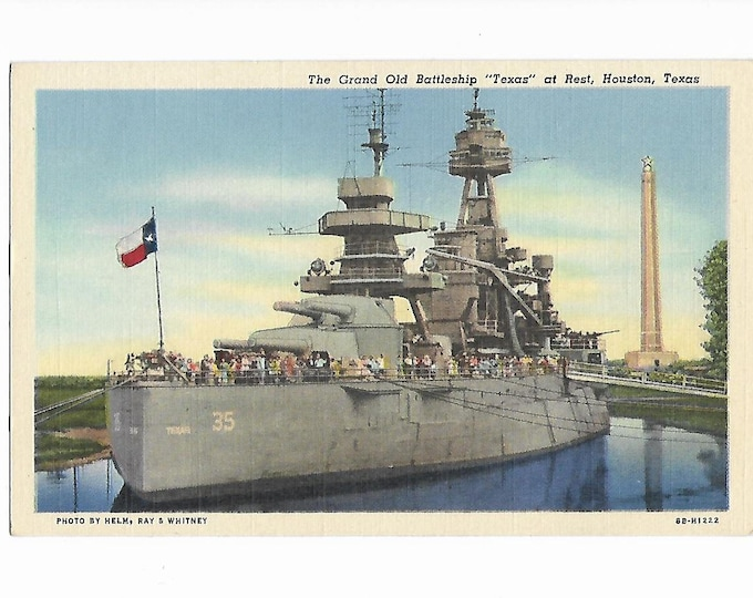 Linen Postcard The Grand Old Battleship Texas at Rest Houston Texas Coded 8B-H1222 Curt Teich 1948 Unposted