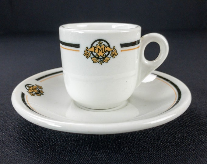 1920s FMC Monogram Black Yellow Ivy Leaves Restaurant Ware Demitasse Cup And Saucer by Iroquois China