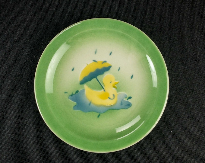 """Vintage 1960s Duck in the Rain with Umbrella Childs Restaurant Ware 5 1/2"""" Plate by Syracuse China Stencil Airbrush Design"""