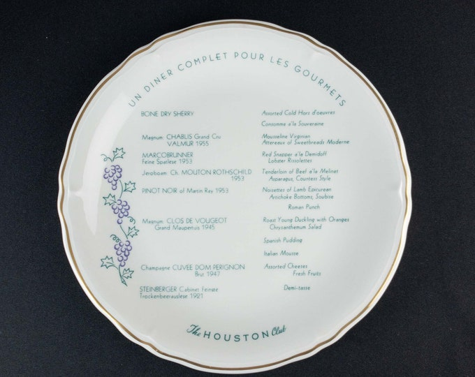 Vintage 1970s The Houston Club Restaurant Ware Dinner Charger Plate Shenango China